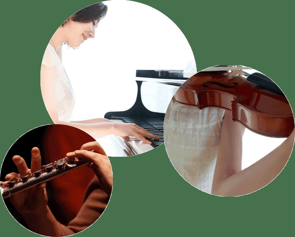 3種類の楽器を演奏